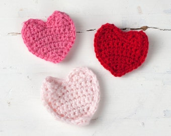 Set of FOUR Baby Heart Knit Clips