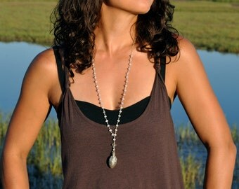 Rosary Style Long Necklace with Bali Wish Compartment Necklace