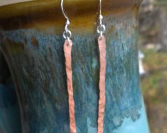 Hammered Copper and Sterling Silver Dangle Earrings