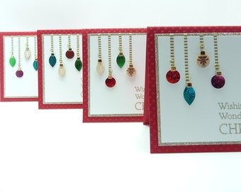 Christmas Card Set of 4, Festive Ornament Holiday Cards, Red and Gold Glitter Christmas Cards