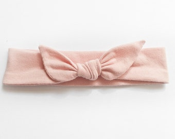 Dusty Pink Pastel Jersey Knit Knotted Bow Headband/Headwrap Baby Toddler Child Adult