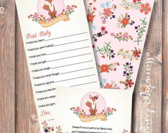 Floral Fox Wishes for Baby Printable Baby Shower Game - INSTANT DOWLOAD
