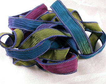 Hand Dyed Silk Ribbons - Crinkle Silk Jewelry Bracelet Fairy Ribbon - Quintessence - Spellbound