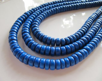8mm WOOD Beads in Dark Blue, Rondelle, 8mm x 4mm, 1 Strand, Approx 105 Beads, Dyed, Wooden, Flat, Round