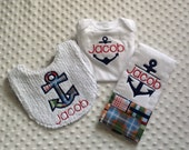 Baby Boy Personalized 3 Piece Gift Set  - Bib, Bodysuit, Burp Cloth- Nautical Anchor Theme