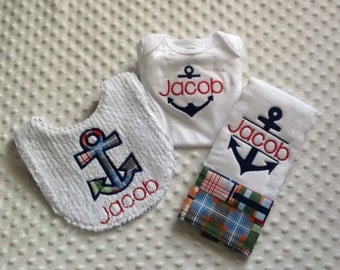 Baby Boy Personalized 3 Piece Gift Set  - Bib, Bodysuit, Burp Cloth- Nautical Anchor Theme