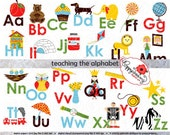 Teaching the Alphabet Clipart & Digital Flashcards: Digital Image Set (300 dpi) School Teacher Clip Art Reading Flashcards Picture Alphabet