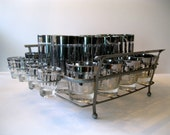 Mid Century Silver Striped Bar Set in Carrier Caddy