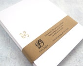 Letterpress Stationery - Rococo Initial in Gold (Set of 10)