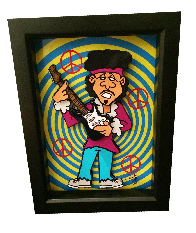 jimi hendrix artwork print 3d pop art woodstock 1960s hippie. Black Bedroom Furniture Sets. Home Design Ideas