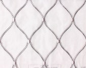 Custom Curtains in Sheer White with Silver-Gray in Round Diamond Pattern One Panel Custom sizes available