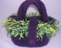 Felted Wool Tote in Purple with Green and Blue  Frizzle Trim  for Women and Teens,Code  PURSES20