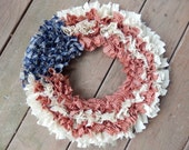 "Flag Rag Wreath in Homespun 15"" Americana Collection, Primitive Country, Handmade in NJ"