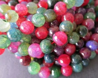 5 str -Colorful Agate 8mm or 10mm Round Beads Faceted- 38pcs/Strand
