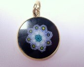 Vintage millefiori glass .925 Italian Sterling silver gold plated pendant.