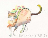 Taco Cat CLEARANCE Original Mini Watercolor Painting by Amy DeCaussin Animal Art Mexican Kitty illustration