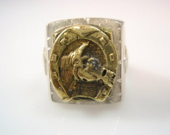 Mexico Mexican HORSE SHOE Mayan Biker Ring solid sterling silver skull