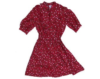 70s - 80s red rose floral print ruffle dress // sz m