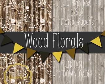 Rustic Wood Digital Paper, Barn Wood Textured Paper, Printable Barnwood paper, Floral Distressed Wood Background, Rustic Wood texture