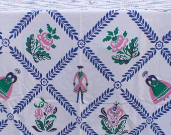TABLECLOTH - STARTEX - COLONIAL couple - floral - pink - kelly green - electric blue