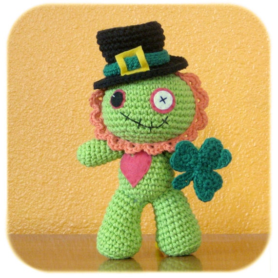 crochet cotton St. Patrick's Day leprechaun costume only Zombie plush NOT included
