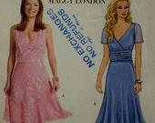 Maggy London Dress Pattern, V-Neck, LIned, Cummerbund, Bias Flared Skirt, Sleeveless/Short Sleeves Butterick No. B4510 UNCUT Size 6 8 10 12