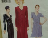 Straight Fitted Dress Pattern, V-Shaped Midriff Insert, V-Neck, Lined, Short/Long Sleeves, Straight Skirt, Vogue 9567 UNCUT Size 18 20 22