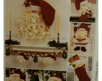 Santa Decorations Pattern, Face with Beard, Door Hanging, Card Holder, Stocking, Tree Decorations, McCalls No. 2389