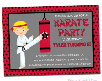 PRINTABLE Boy Karate Party Invitations (Character of your choice) #543