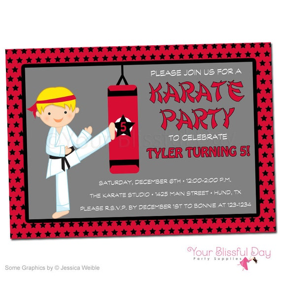 Product Search Karate – Karate Party Invitations