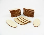 """25 Ovals 2 3/8"""" x 7/8"""" x 1/8"""" Unfinished Wood Shapes Laser Cutouts Jewelry Earrings Pendants No Holes"""