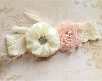Blush vintage and ivory chiffon headband-feathers-lace headband,shabby headband,any size, newborn,baby flower girl,photo prop