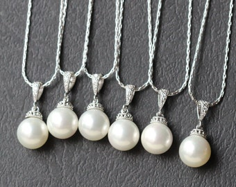 set of 5 pearl bridesmaid necklace , bridesmaid gift set of 5 , pearl necklace