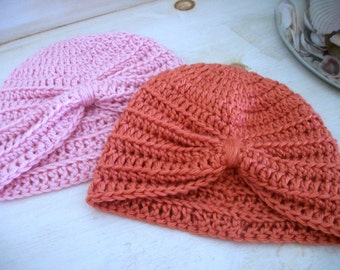 Newborn Crochet Turban Knot Beanie Other Sizes and Colors Available
