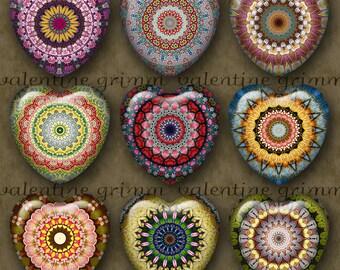 1 inch KALEIDOSCOPE FLOWERS Digital Printable Hearts collage sheet for Jewelry Pendants Magnets Crafts...mandala flower bouquet OOAK