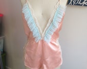 Reconstructed Vintage Pink Silk & Lace Romper XS/S