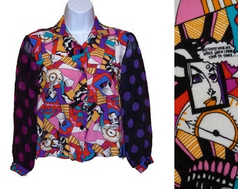 Graphic Cartoon Shirt with Sheer Sleeves Vintage 1970s Size Small