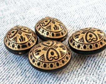 Black and Gold Finish Acrylic Southwestern Oval Beads