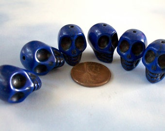 Cobalt Blue Stone Skull Beads