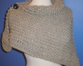 Hand Knit Triangle Shawl, Wrap, Chevron Scarf, Gray. Bulky Wool, Button