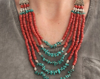 Nepali Vintage Bohemian Stunning Native style bib necklace with Red corals and dyed Turquoise color beads Ethnic Boho Chic Layering necklace