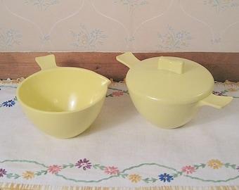 Vintage Yellow Marcrest Melmac Creamer and Sugar Bowl