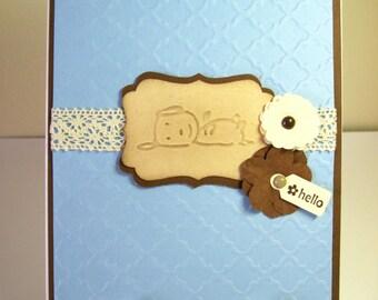 Embossed Dog Hello Blank Handmade Note Card