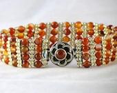 Carnelian and Silver Seed Bead Bracelet