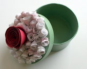 Paper Rose Covered Keepsake or Trinket Box