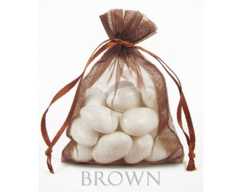 30 Chocolate Brown Organza Bags, 3 x 4 Inch Sheer Fabric Favor Bags,  For Wedding Favors, Jewelry Pouches