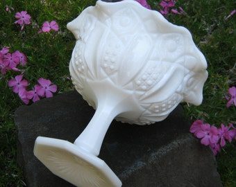 White Milk Glass Compote With Ornate Pattern - Kemple McKee - Wedding Decor - Centerpiece - Oak Hill Vintage
