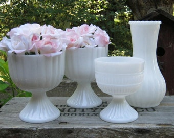 Milk Glass Compotes and Vase - White Vases - Ribbed Pattern - Wedding Centerpiece - Oak Hill Vintage