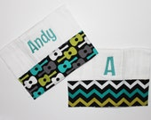 2 Personalized Burp Cloth Set Embroidered with Name - Guitar and Chevron Lagoon