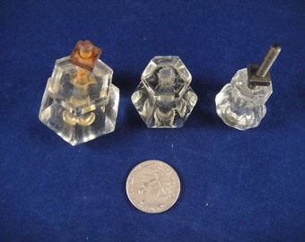 clear glass drawer pulls 3 different sizes mismatched